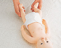 Simple baby exercise and feeding